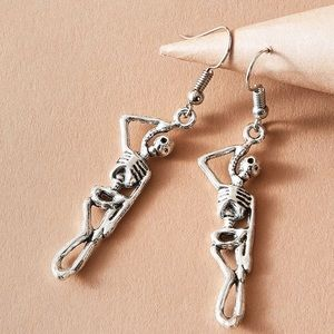 2/$20! Silver Hanging Skeleton Earrings